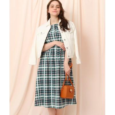 Couture brooch / シャーリングマドラスチェックワンピース WOMEN ワンピース > ワンピース