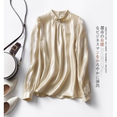 ブラウス レディース長袖天然シンプル名品スタンドカラーシャツ簡単なデザインスプリングフォマールデートトップス上着