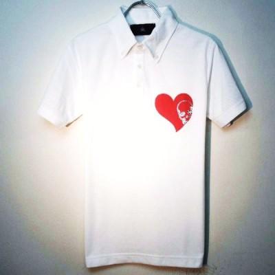 Skull Heart Swarovski polo shirt white × red