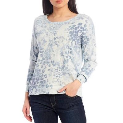 デモクラシー レディース パーカー・スウェット アウター Animal Tie Dye Curled Edge Cuff Long Sleeve Sweater