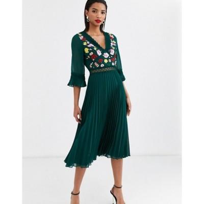 エイソス レディース ワンピース トップス ASOS DESIGN lace insert pleated midi dress with embroidery
