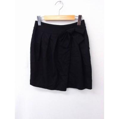 【中古】クローラ crolla スカート ギャザー リボン 無地 シンプル ウール 36 ブラック 黒 /FT16 レディース