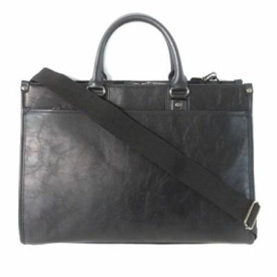 【中古】スーツセレクト ビジネス バッグ ブリーフケース ハンド ショルダー 2WAY フェイクレザー ブラック 鞄 メンズ