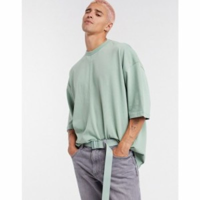 エイソス ASOS DESIGN メンズ Tシャツ トップス oversized heavyweight t-shirt in green アイスバーググリーン