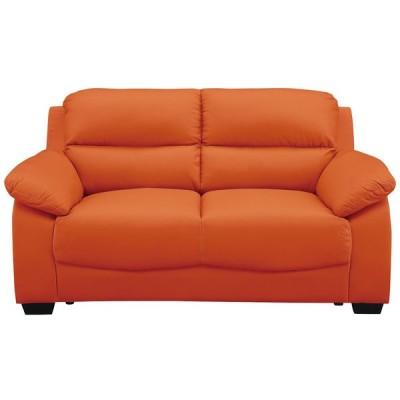 送料無料  イタリアンオレンジ 2Pソファ 2人掛けソファ COW/PVC 牛革 幅153 オシャレ シンプル