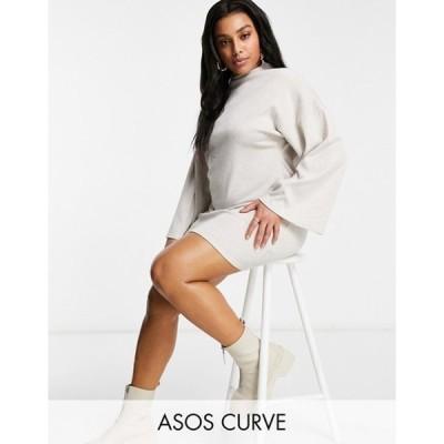 エイソス レディース ワンピース トップス ASOS DESIGN Curve brushed rib batwing mini dress in oatmeal