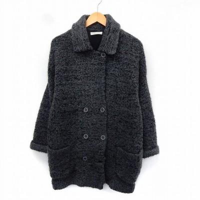 【中古】ローリーズファーム LOWRYS FARM コート ステンカラー ポケット シンプル ダブルボタン M グレー /ST36 レディース 【ベクトル 古着】