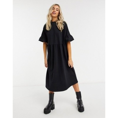 エイソス レディース ワンピース トップス ASOS DESIGN oversized ruffle sleeve smock sweat midi dress in black Black
