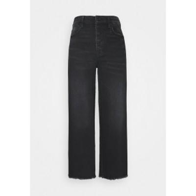 アメリカンイーグル レディース デニムパンツ ボトムス WIDE LEG CROP - Straight leg jeans - black blaze black blaze