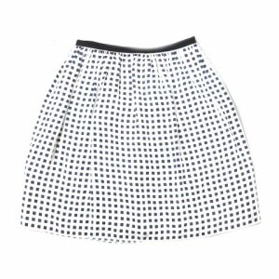 【中古】ボールジー BALLSEY トゥモローランド シルク100% ブロック柄 ハーフ フレア スカート 膝丈 38 白×青