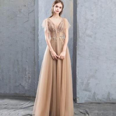 ドレス ワンピース パーティードレス 結婚式 大きいサイズ マキシ丈 半袖 シースルー チュール 花柄刺繍 Aライン Vネック