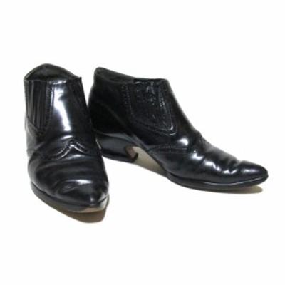 廃盤 Jean Paul GAULTIER ジャンポールゴルチエ 「3」レザーヒールブーツ (靴 黒 皮 革 シューズ) 123834 【中古】