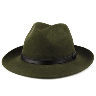ソフトハット フェルト イタリア製 帽子 Di CHIARA ROSA ディ・キアラ・ロ−ザ ワイド ブリム 大きいサイズ 中折れ帽 ダークグリーン