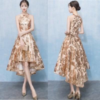 ミニドレス 結婚式 パーティードレス 二次会 ミニ ドレス ワンピース フィッシュテール ノースリーブ 大きいサイズ