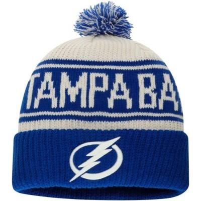 ユニセックス スポーツリーグ ホッケー Tampa Bay Lightning Fanatics Branded True Classic Z Route Cuffed Knit Hat with Pom - White - OS