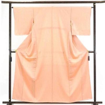 リサイクル着物 小紋 正絹ピンク地立涌柄袷小紋着物未使用品