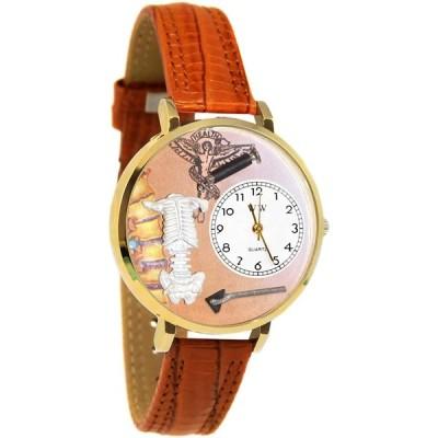 カイロプラクター 黒パッド入りレザーバンド ゴールドフレーム腕時計 #G0620004