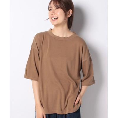 (Samansa Mos2/サマンサ モスモス)【SM2】カバーリング天竺ハイネックTシャツ/レディース キャメル