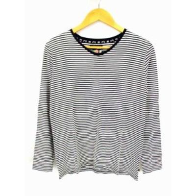 【中古】グラム glamb 長袖 カットソー Tシャツ ロンT ボーダー Vネック 綿 コットン 白 黒 サイズ1 日本製 メンズ