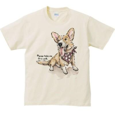 ウェルシュ・コーギー(散歩に連れてって)犬/半袖Tシャツ