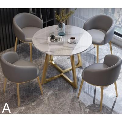 おしゃれ高級テーブル 大理石柄円形デスク 北欧風 会議室 オフィス 打ち合わせ ミーティング 簡易応接 テーブルチェアセット
