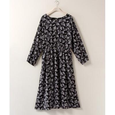 大きいサイズ 裏地フリース花柄ワンピース【marpione】 ,スマイルランド, ワンピース, plus size dress