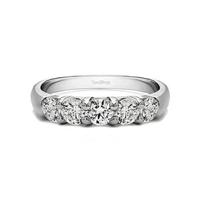 【新品】5石1.47CT共通Prong記念指輪スターリングシルバーキュービックジルコニア(サイズ3to 15In 1/ 4サイズ間隔)