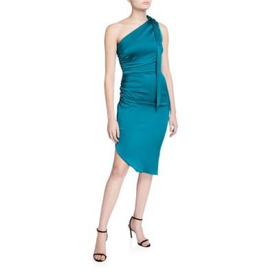 ミリー レディース ワンピース トップス Coleen One-Shoulder Tie-Neck Sleeveless Stretch Silk Dress