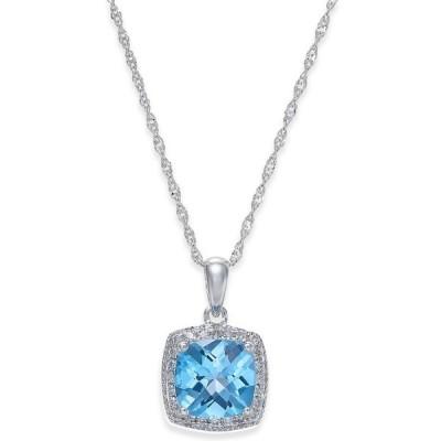 メイシーズ Macy's メンズ ネックレス Blue Topaz (1-1/2 ct. t.w.) and Diamond (1/10 ct. t.w.) Pendant Necklace in 14k White Gold Blue