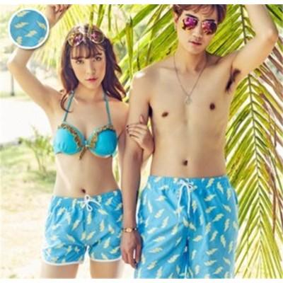 ベアルックショーツ カップル カジュアル プリント ファッション ハイセンス 着心地いい おしゃれ 夏 男女兼用 ベアルックショーツ