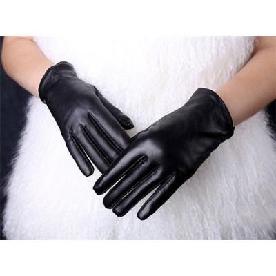 ラム革 羊革 裏ボア レディース 本革 レザーグローブ 革 皮 手袋 防寒 皮手袋 指 バイク 高級 ブラック 柔らかい ブラック フリーサイズ