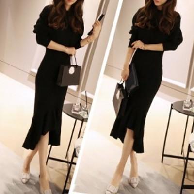 レディース ニット セーター トップス 上品 ロング ワンピ 着痩せ 韓国 ファッション 大人 インスタ映え 大きいサイズ
