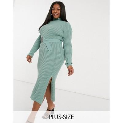 イン ザ スタイル プラス レディース ワンピース トップス In The Style Plus x Billie Faiers roll neck knitted dress with belt in sage Sage
