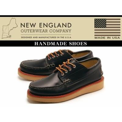 訳あり品 ニューイングランド 4アイ カトーメットモカシン メンズ 男性用 ブラック 26.5cm US8.5 NEW ENGLAND(ne001)