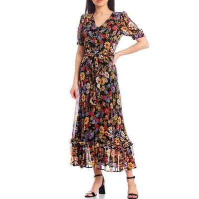 カルバンクライン レディース ワンピース トップス Floral Button Front Short Sleeve V-Neck Dress Black/Porcelain Rose Multi