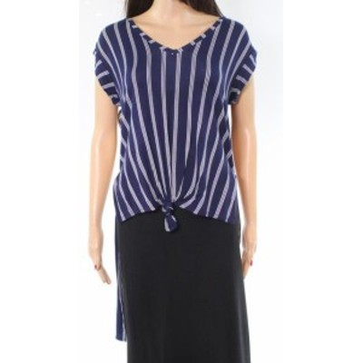 Fire ファイア ファッション トップス Love Fire NEW Blue Womens Size Small S V-Neck Striped Tunic Knit Top