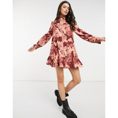 グラマラス ミニドレス レディース Glamorous high neck mini smock dress with peplum hem in rose prnt エイソス ASOS ブラウン 茶