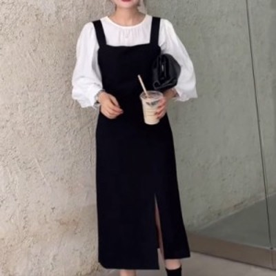 レディース ジャンパースカート シンプル 定番 スリット ガーリー フェミニン カジュアル 大人可愛い 韓国ファッション