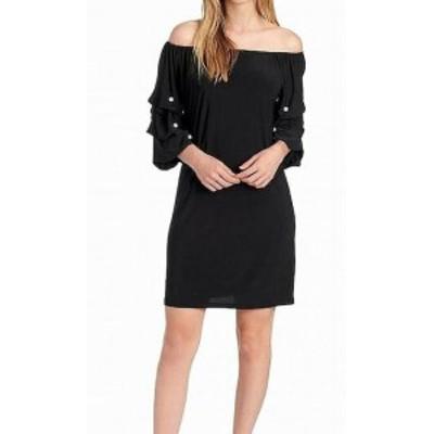 Pearl  ファッション ドレス MSK NEW Rich Black Womens Size Medium M Pearl Puff Sleeve Shift Dress
