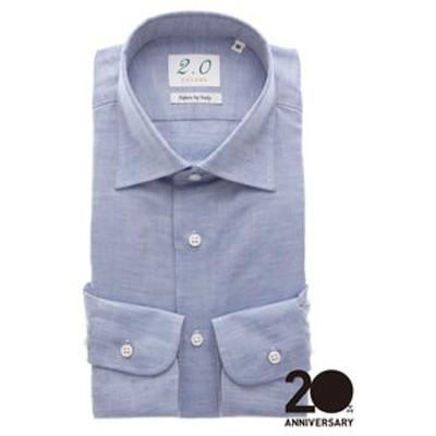 20周年記念アイテム/ワイドカラードレスシャツ 織柄≪Fabric by ITALY≫