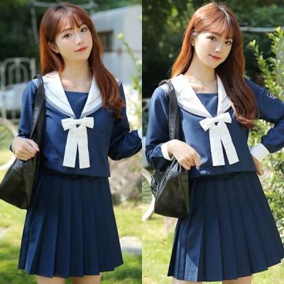 コスプレ 制服 <malymoon>純白リボンの紺色長袖セーラー服3点セット ネイビー セーラー 女子高生 可愛い 衣装 コスチューム ハロウィン 仮装