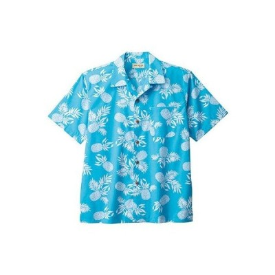 ボンマックス BONMAX アロハシャツ パイナップル柄 FB4546U-7 ブルー おしゃれ 夏 オープンカラー
