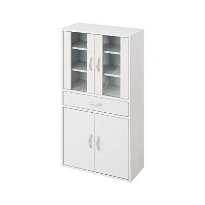 ぼん家具 食器棚 ガラス扉 キャビネット 可動棚 幅60cm 高さ120cm 木製 ホワイト