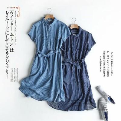 レディースワンピース20代40代半袖夏上品きれいめAラインデニムワンピースパーティードレス大きいサイズ韓国風おしゃれ