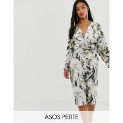 エイソス レディース ワンピース トップス ASOS DESIGN Petite midi dress with batwing sleeve and wrap waist in satin in abstract pr