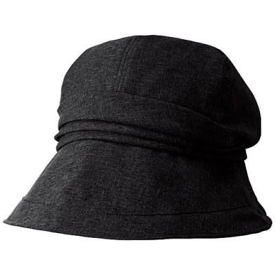 21機能で小顔に見える遮熱遮光UVクロッシェ帽子<美活計画>/ブラック