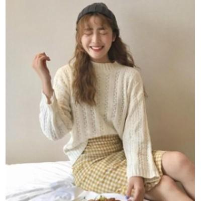 韓国 ファッション レディース トップス ニット セーター ラウンドネック オルチャン 編み ゆったり 長袖 シンプル カジュアル