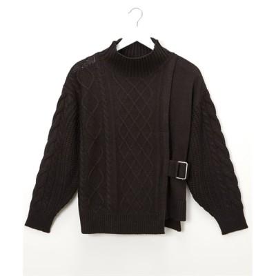 ベルトデザインケーブルニット (ニット・セーター)(レディース)Knitting, Sweater, テレワーク, 在宅, リモート