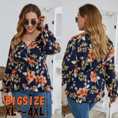 【 XL ~ 4XL 】 大きいサイズ レディース ルーズ tシャツ 花柄 プリント vネック ブラウス 3XL 2XL