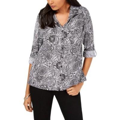 レディース 衣類 トップス NY Collection Womens Petites Long Sleeves Plaid Blouse ブラウス&シャツ